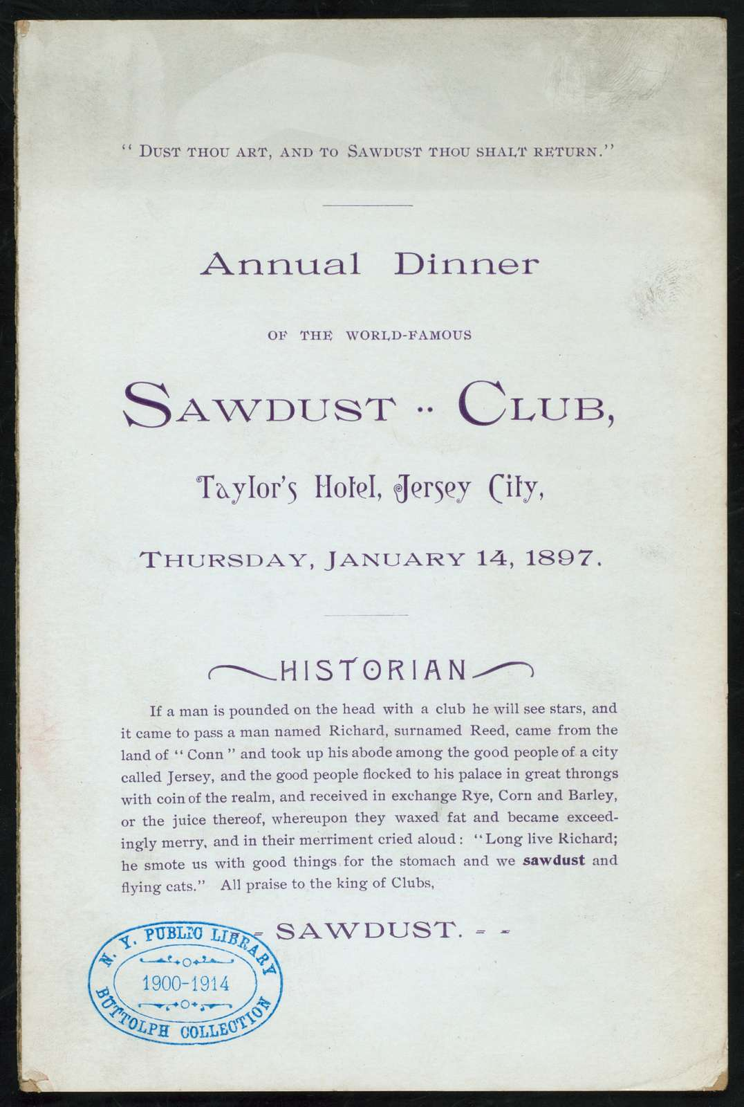 """ANNUAL DINNER [held by] SAWDUST CLUB [at] """"TAYLOR'S HOTEL, JERSEY CITY [NJ]"""" (HOTEL;)"""