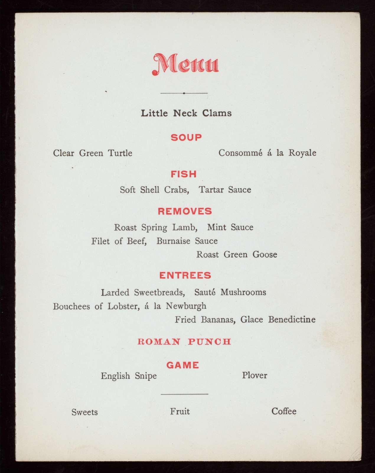 DINNER,20TH ANNIVERSARY [held by] CLASS OF 1877 HARVARD COLLEGE [at] PARKER'S ([HOTEL];)