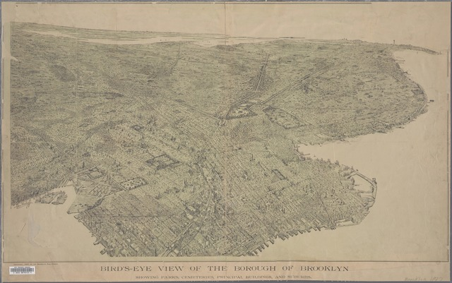 Bird's-eye view of the borough of Brooklyn : showing Parks, industries, principal buildings, and (...), especially prepared for the B. Daily Eagle consolidation number.