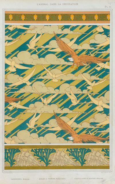 Carpocoris, bordure. Aigles et pigeons, papier peint. Coquillages et algues, bordure.