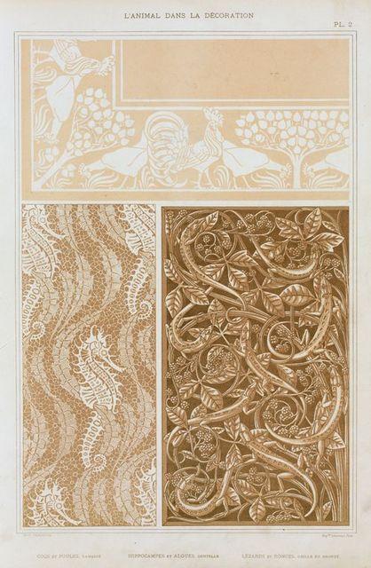 Coqs et poules, damassé; hippocampes et algues, dentelle; lézards et ronces, grille en bronze