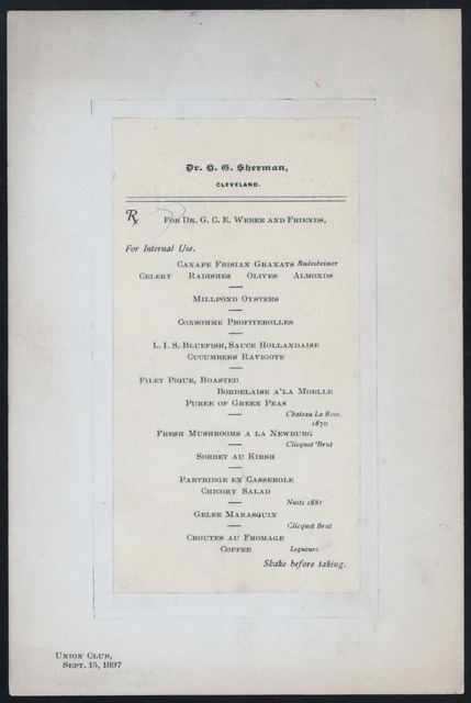 "DINNER FOR DR. G.C.WEBER AND FRIENDS [held by] DR. H. G. SHERMAN [at] ""UNION CLUB, CLEVELAND, OH"" (OTHER (PRIVATE CLUB);)"