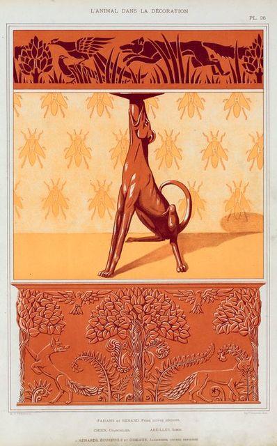 Faisans et renard, frise cuivre découpé. Chien, chandelier. Abeilles, semis. Renards, écureuils et oiseaux, jardiniere cuivre repoussé