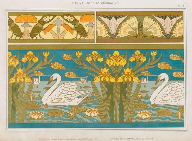 Lucanes et champignons, oxalides et papillons, bordure; cygnes, iris et nénuphars, émail cloisonné