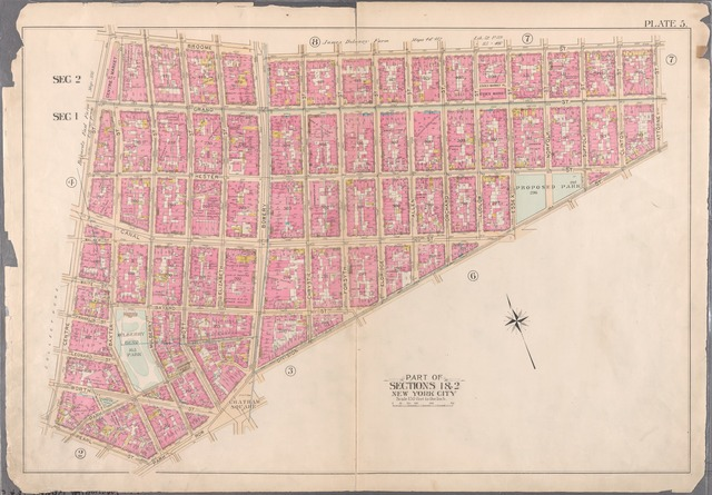 [Plate 5: Bounded by Broome Street, Attorney Street, Division Street, Park Row, and Centre Street.]