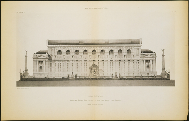 Rear Elevation. Accepted Design, Competition for The New York Public Library. Drawing for Architectural Review.