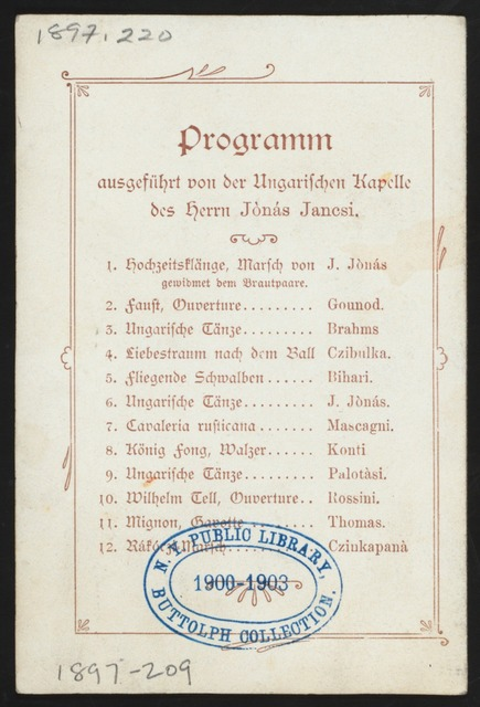 "WEDDING RECEPTION OF DANIEL MUNDEN AND MARTHA HERMANN [held by] HOCHZEITS-FEIER [at] ""HAMBURG,[GERMANY]"" (FOR;)"