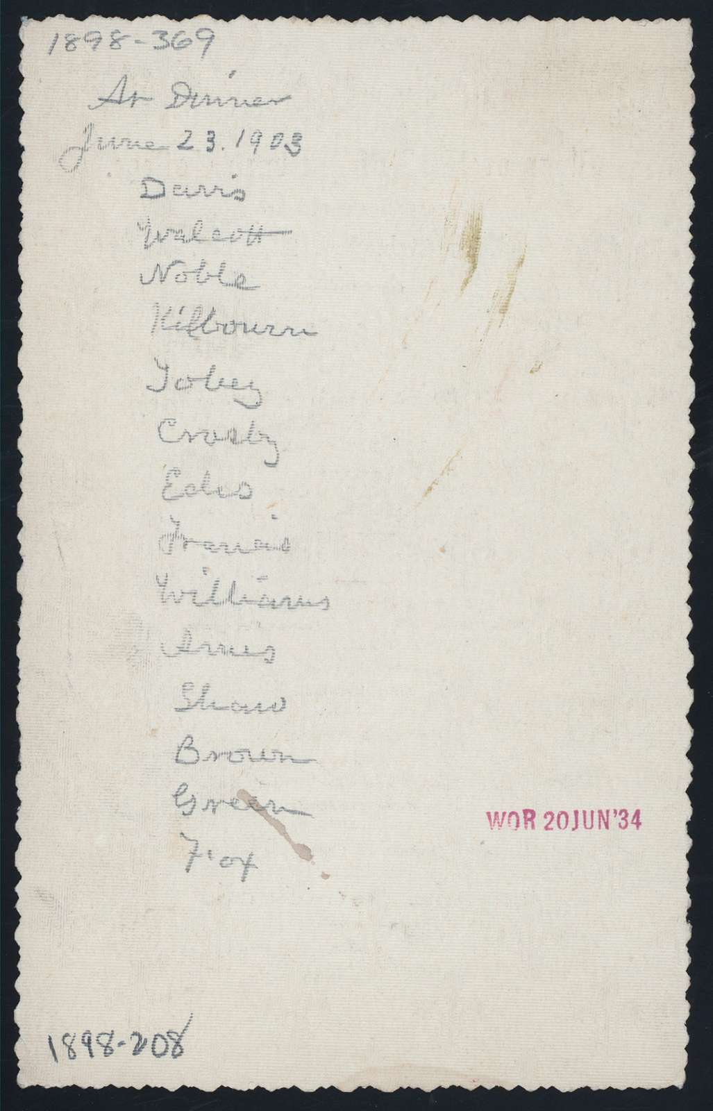 "40TH ANNIVERSARY [held by] CLASS OF 1858 OF HARVARD COLLEGE [at] ""UNION CLUB, (?)"" (OTHER (CLUB);)"