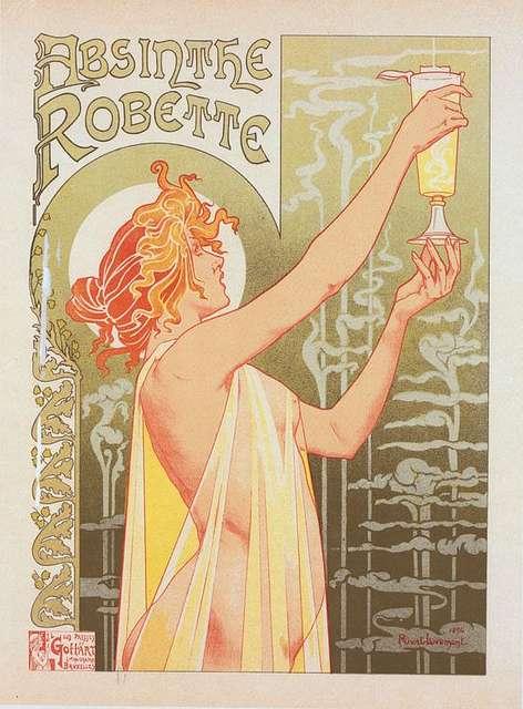 """Affiche belge pour l' """"Absinthe Robette""""."""