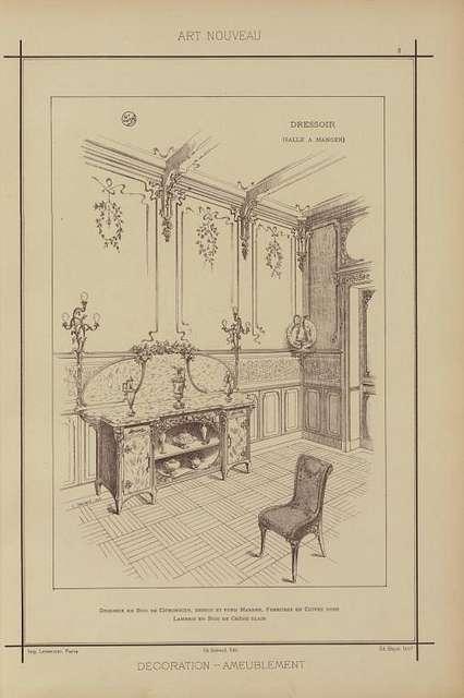 Dressoir (salle à manger): dressoir en bois de citronnier, dessus et fond marbre, ferrures en cuivre doré lambris en bois de chêne clair