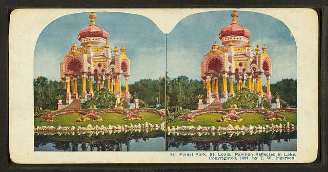 Forest Park, St. Louis. Pavillion reflected on lake.