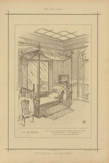 Lit de repos: balustrade et meubles en bois de hêtre découpé et décoré. Sièges en bois doré. - Dais velours teinté. Brise-bise avec applications broderies