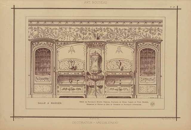 Salle à manger : décor de panneaux étoffe verdure, fontaine en étain vasque et fond marbre, dressoirs et portes en bois de sycomore et panneaux pyrogravés.