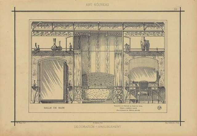 Salle de bain: toilette et psyché en bois de jara. Siège à dossier canné balustrade en hêtre décoré