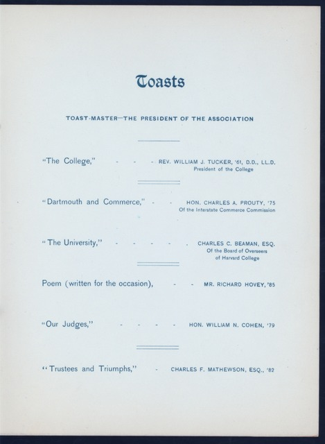 "34TH ANNUAL DINNER [held by] DARTMOUTH COLLEGE ASSOCIATION OF NEW YORK [at] ""DELMONICO'S, NEW YORK, NY"" (HOT;)"