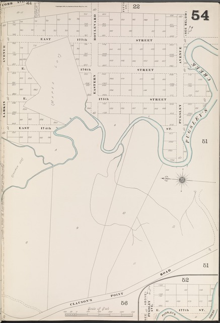 Bronx, V. A, Plate No. 54 [Map bounded by E. 177th St., Clauson's Point Rd., Larkin Ave.]