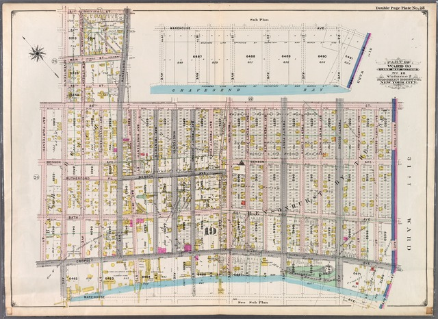 Double Page Plate No. 25: [Bounded by 81st Street, Eighteenth Avenue, 86th Street, Twenty-Third Avenue, Warehouse Avenue, Seventeenth Avenue, Cropsey Avenue, Bay-Fourteenth Street, 86th Street and Seventeenth Avenue.]
