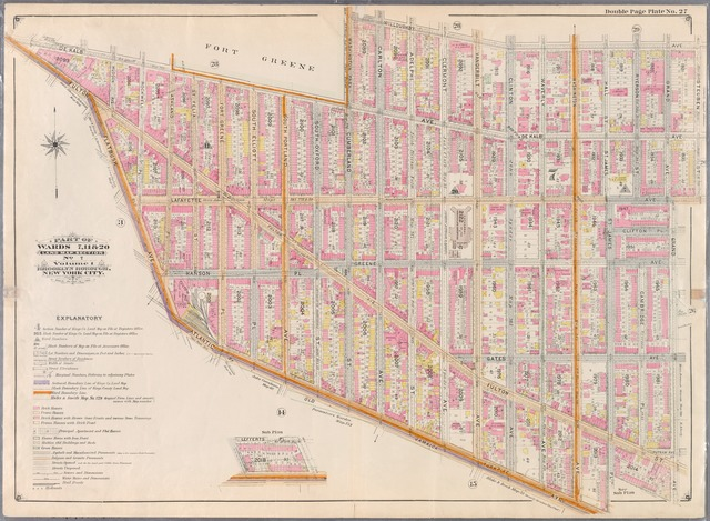 Double Page Plate No. 27: Bounded by Willoughby Avenue, Steuben Street, Lafayette Avenue, Grand Avenue, Atlantic Ave (Jamaica Turnpike), Flatbush Avenue, Fulton Street, (Fort Green) Dekalb Avenue and Washington Park.