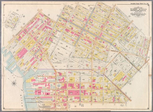Double Page Plate No. 33: [Bounded by Manhattan Avenue, Calyer Street, Oakland Street, Meserole Avenue, Newell Street, Norman Avenue, Jewell Street, Nassau Avenue, Humboldt Street, Meeker Avenue, Richardson Street, Union Avenue, N. Ninth Street, Wythe Avenue, N. Eighth Street, (East River) Kent Avenue, Quay Street, West Street and Greenpoint Avenue.]