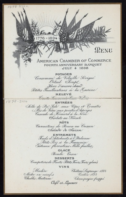 FOURTH ANNIVERSARY DINNER, JULY FOURTH [held by] AMERICAN CHAMBER OF COMMERCE [at]