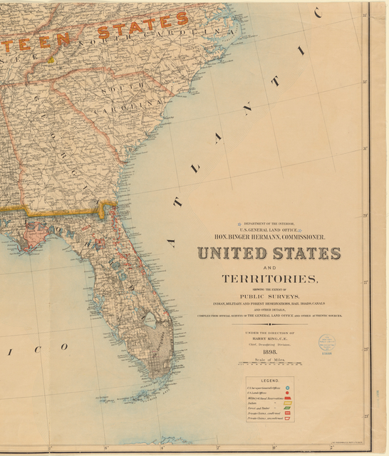 United States and territories, showing the extent of public surveys, Indian, military and forest reservations, rail roads, canals and other details