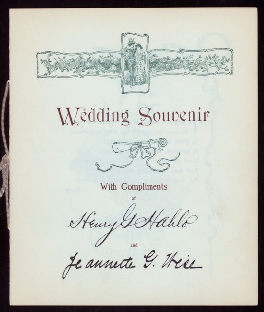 "WEDDING DINNER [held by] HENRY HAHLO & JEANNETTE WISE [at] ""DELMONICO'S, NEW YORK, NY"" (HOT;)"