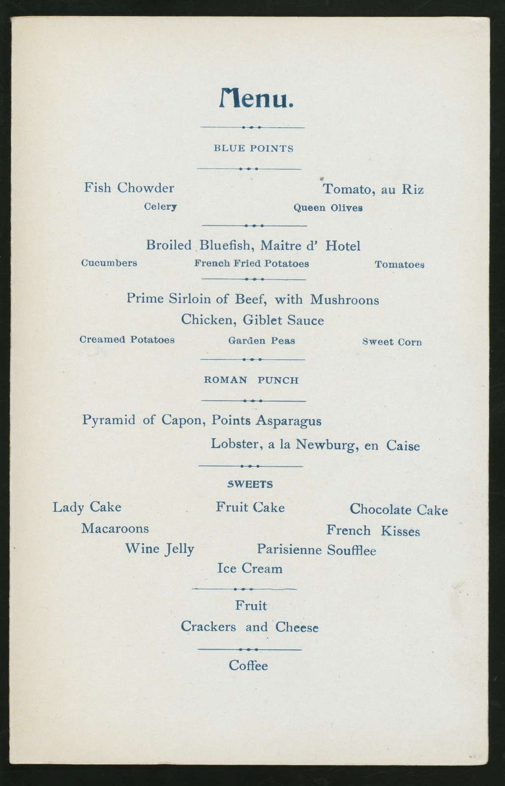 """DINNER TO THE AGENTS OF THE FRANK JONES BREWING CO. [held by] (FRANK JONES BREWING CO.) [at] """"WENTWORTH,THE,PORTSMOUTH,NH"""" (HOTEL;)"""