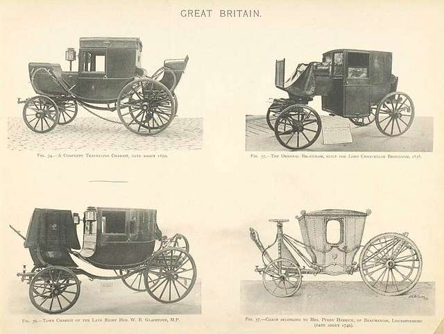 Fig. 34. - A complete travelling chariot, date about 1850; Fig. 35. - The original brougham, built for Lord Chancellor Brougham, 1838; Fig. 36. - Town chariot of the late Right Hon. W. E. Gladstone, M.P.; Fig. 37. - Coach belonging to Mrs. Perry Herrick, of Beaumanoir, Leicestershire (date about 1740). Great Britain.