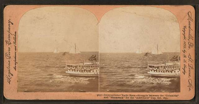 """International Yatcht Race, struggle between the """"Columbia"""" and """"Shamrock for the America's Cup, Oct. 1899."""