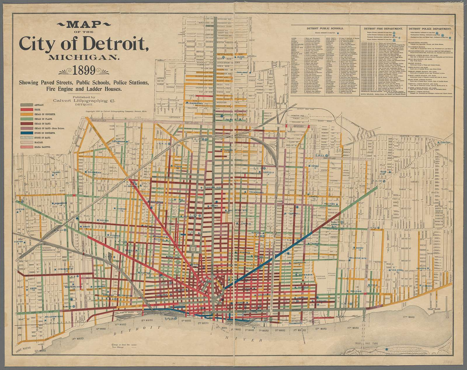 Map of the city of Detroit, Michigan, 1899 : showing paved streets, public schools, police stations, fire engine and ladder houses