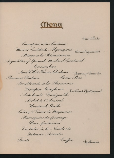 "BANQUET TO ADMIRAL GEORGE DEWEY [held by] GOV.ROGER WOLCOTT OF MASS; [at] ""ALGONQUIN CLUB, BOSTON, MASS;"" (CLUB)"