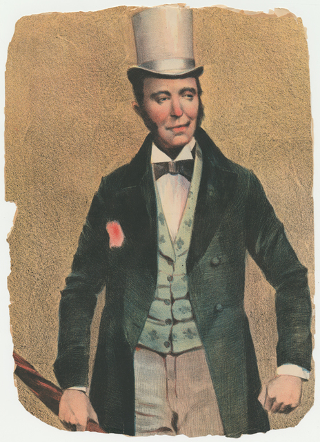 "Detail from lithograph advertising the Kernell Brothers in the Vaudeville act ""Sidewalk Conversation""  (wearing tophat)."