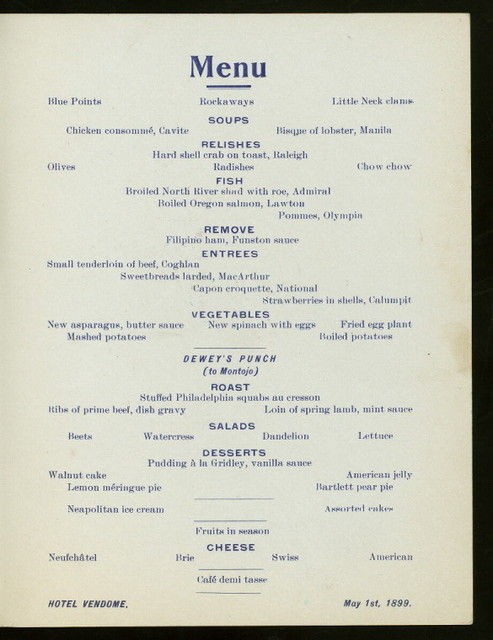 "DEWEY DAY DINNER [held by] HOTEL VENDOME [at] ""NEW YORK, NY"" (COM;)"