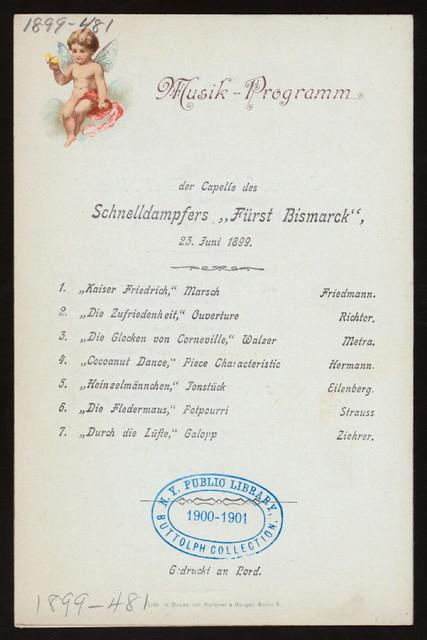 DINNER [held by] HAMBURG-AMERICA LINE [at] EN-ROUTE EXPRESS-STEAMER FURST BISMARCK (SS;)