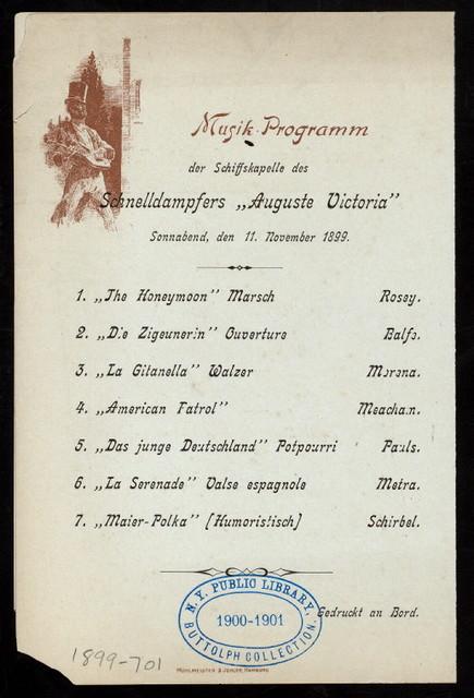 DINNER [held by] HAMBURG-AMERICA LINIE [at] EN ROUTE STEAMER AUGUST VICTORIA (SS;)