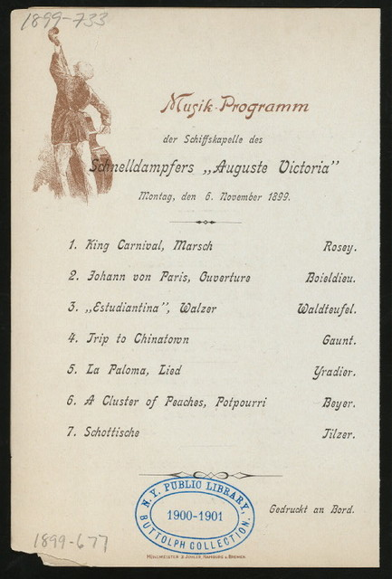 DINNER [held by] HAMBURG-AMERIKA LINIE [at] ENROUTE ABOARD EXPRESS-STEAMER AUGUSTE VICTORIA (SS)