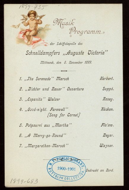 DINNER [held by] HAMBURG- ARMERIKA LINIE [at] ENROUTE EXPRESS STEAMER AUGUSTE VICTORIA (SS;)