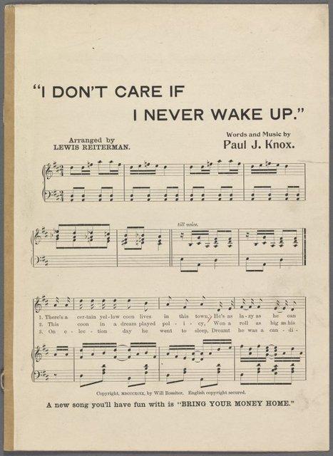 I don't care if I never wake up