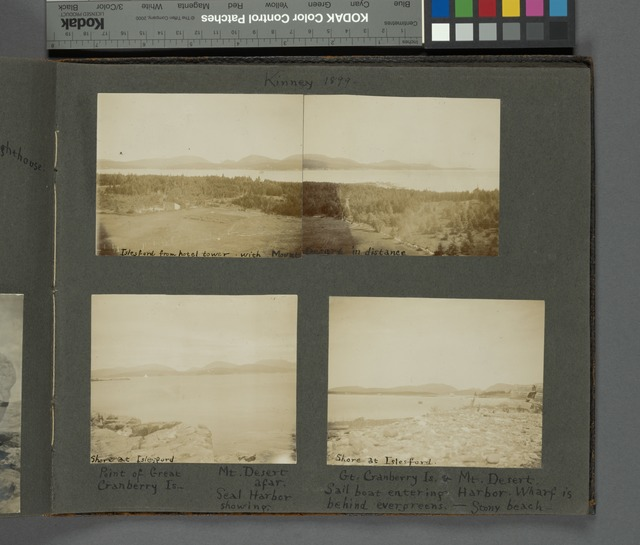 Kinney 1899: Islesford from hotel tower with Mount Desert in distance; Shore at Islesford, point of Great Cranberry Is., Mt. Desert afar, Seal harbor showing; Shore at Islesford, Gt. Cranberry Is & Mt. Desert, sailboat entering Harbor. Wharf is behind evergreens, stony beach.