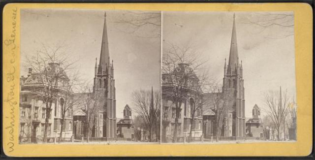 Ladies' Seminary, showing Westminster and Welsh Con. churches. (Washington St. cor. Genesee.)