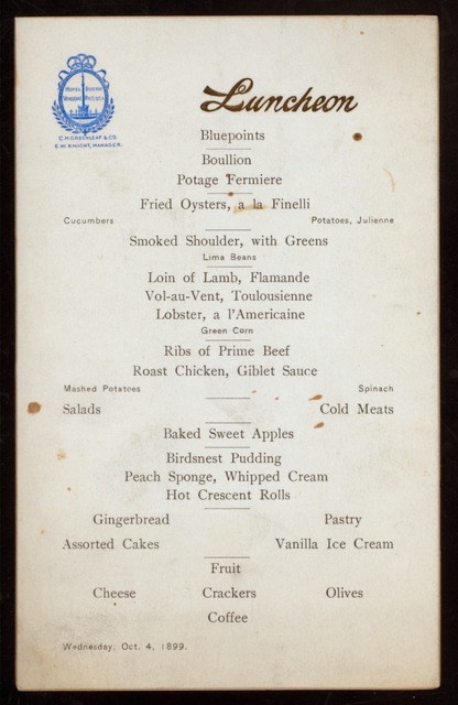 """LUNCHEON [held by] VENDOME HOTEL [at] """"BOSTON, MA"""" (HOTEL)"""