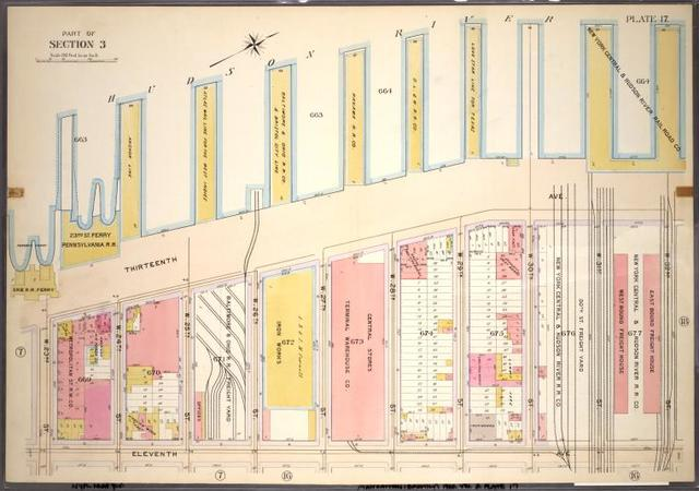 Plate 17, Part of Section 3: [Bounded by W. 32nd Street, Eleventh Avenue, W. 23rd Street and (Hudson River Piers) Thirteenth Avenue]