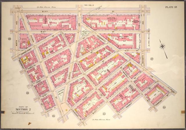 Plate 37, Part of Section 2: [Bounded by W. 14th Street, Seventh Avenue, Greenwich Avenue, Charles Street, Waverly Place, Perry Street, W. 4th Street, W. 11th Street, Bleecker Street, Bank  Street, Hudson Street, Bethune Street, Greenwich Street and Ninth Avenue]