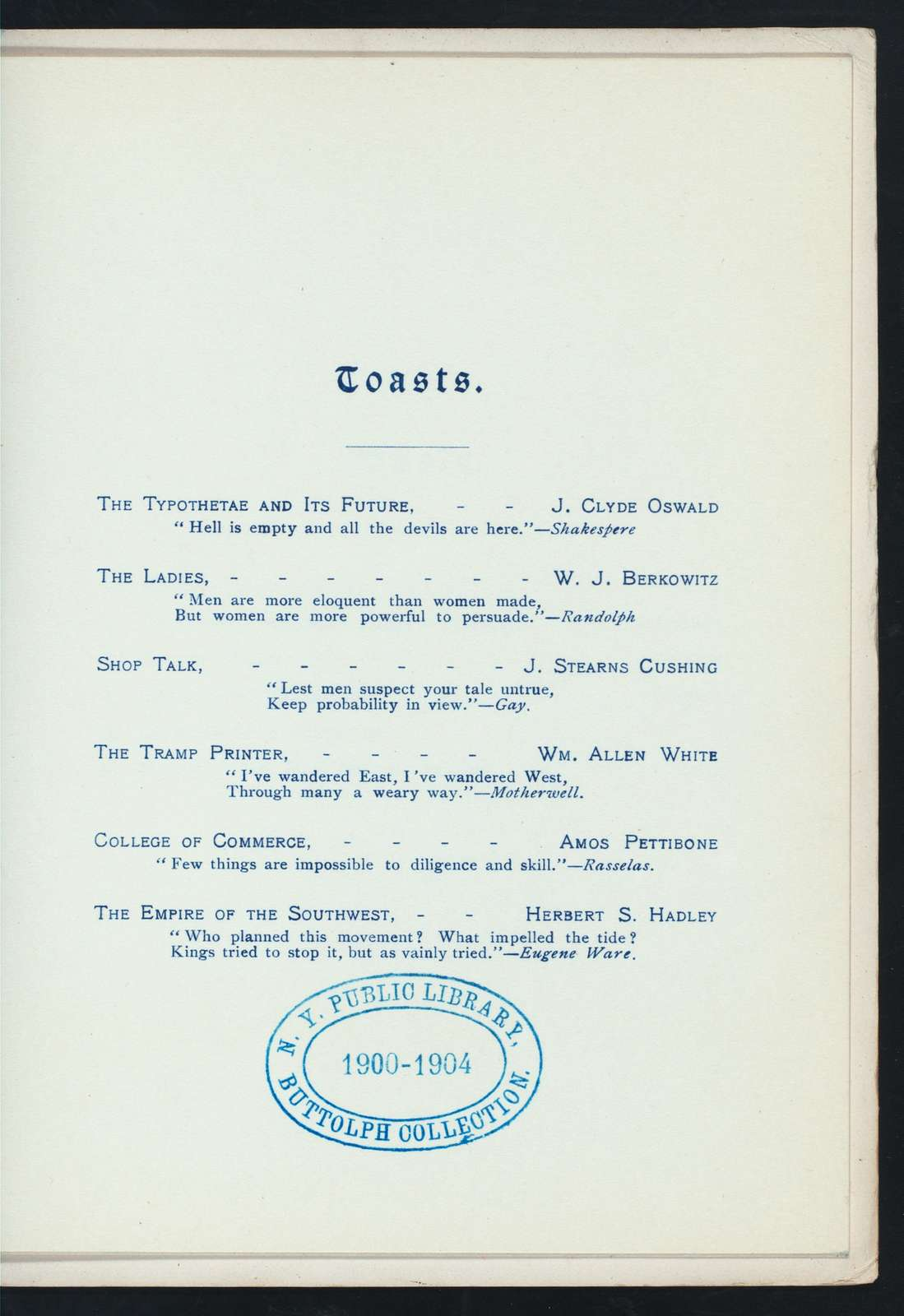 """14NTH ANNUAL BANQUET [held by] UNITED TYPOTHETAE OF AMERICA [at] """"THE BALTIMORE, KANSAS CITY,MO"""" (HOTEL;)"""