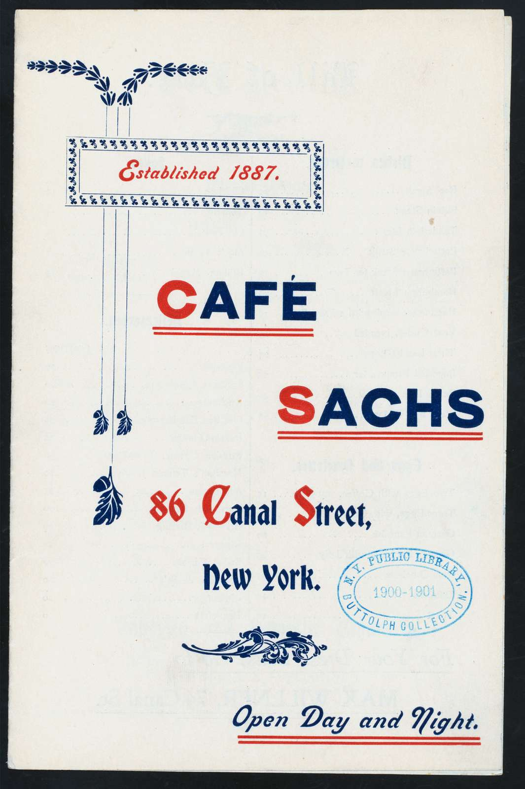 "DAILY MENU [held by] CAFE SACHS [at] ""86 CANAL STREET, NY"" (REST;)"
