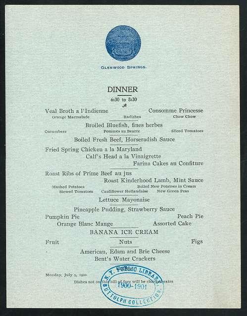 "DINNER [held by] HOTEL COLORADO [at] ""GLENWOOD SPRINGS, CO"" (HOTEL;)"
