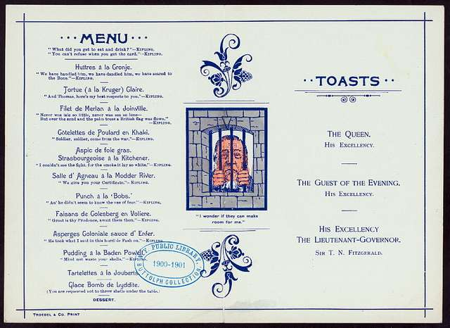 """DINNER TO SIR THOMAS FITZGERALD KT,FRCSI [held by] MEDICAL PROFESSION [at] """"GRAND HOTEL,[MELBOURNE,AUSTRALIA ?]"""" (""""HOTEL,FOREIGN;"""")"""