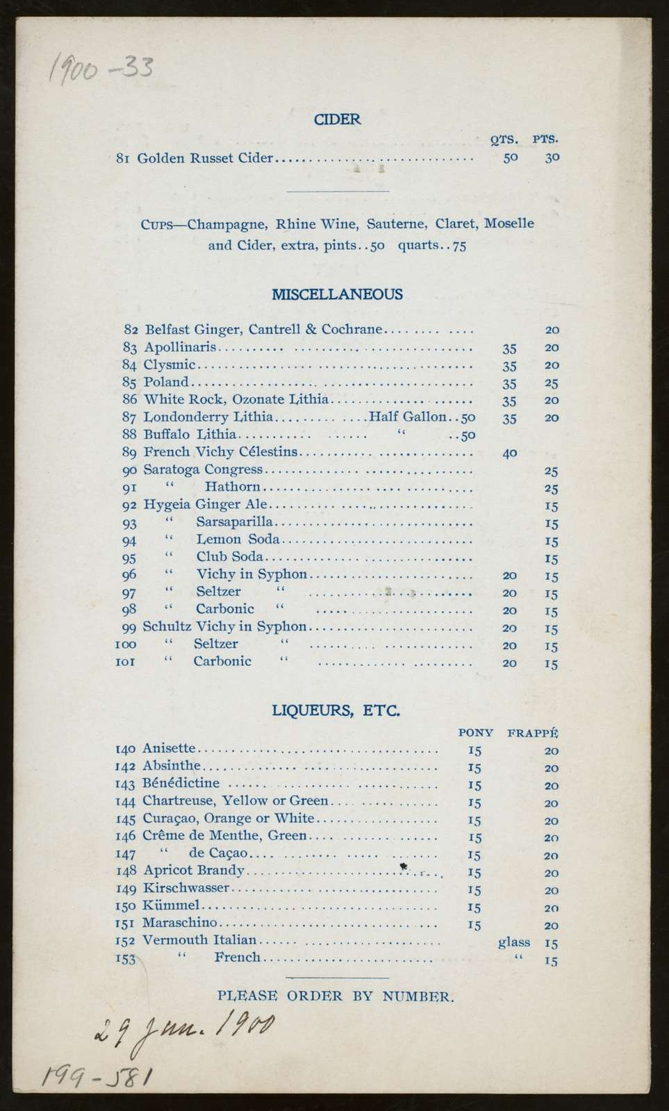 """WINE LIST [held by] HOTEL ST. ANDREW [at] """"NEW YORK, NY"""" (HOTEL;)"""