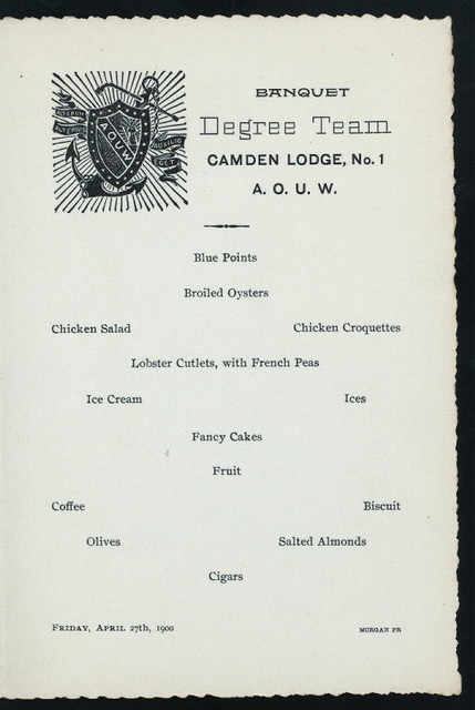 BANQUET [held by] DEGREE TEAM - CAMDEN LODGE #1 -A.O.U.W. [at] ? (?)