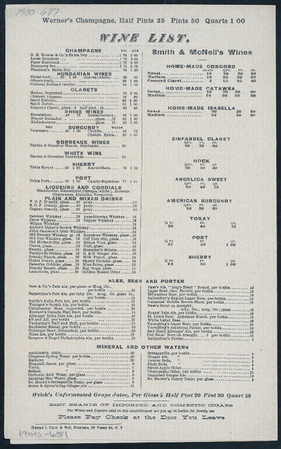 """BREAKFAST & SUPPER MENU [held by] SMITH & MC NELL [at] """"NEW YORK, NY"""" (HOTEL;)"""